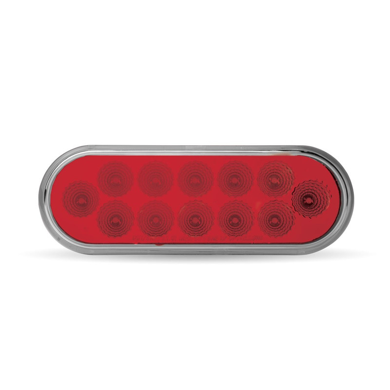 """6"""" Oval Anodized Red Stop Tail Turn LED Light Off"""