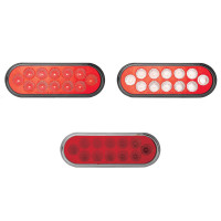 6'' Oval Anodized Dual Revolution Red Stop Tail Turn Signal & White Back Up LED Light