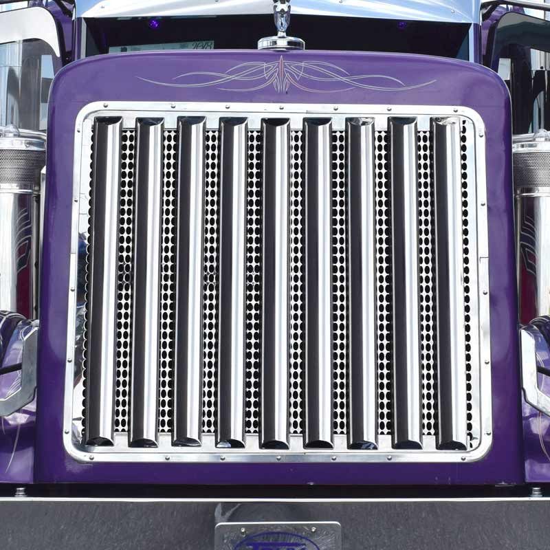 "33.5"" Peterbilt 379 389 Mirror Shine Vertical Half Moon Grill Bars- Full Image"