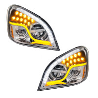 Freightliner Cascadia 2008-2017 LED Chrome Headlight Both On Front