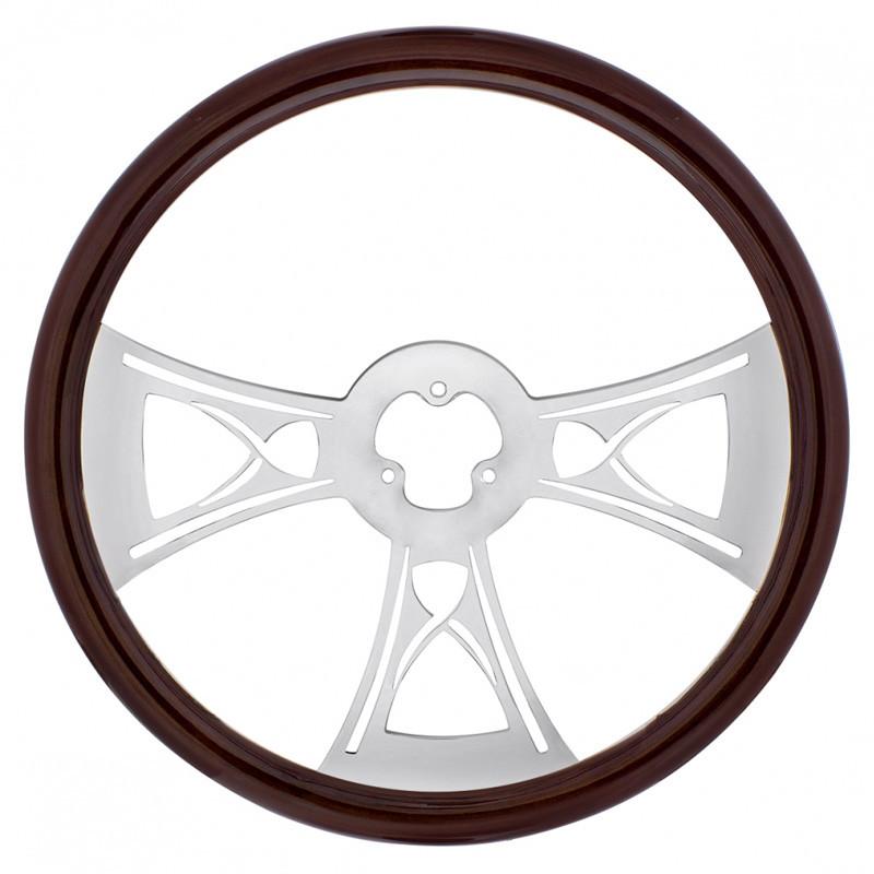 "18"" Chrome Hourglass Style Steering Wheel"