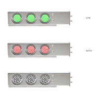 """Mud Flap Hangers With Green/Red Dual Revolution LED Lights 2 1/2"""" Bolt Spacing"""