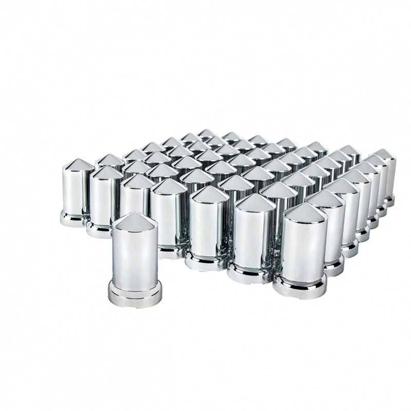 60 Pack of Chrome 33mm Push On Bullet Nut Covers Group View
