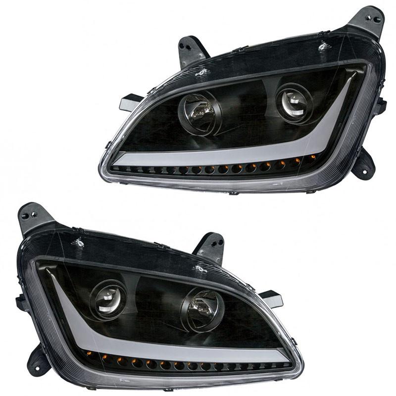 Peterbilt 579 587 Blackout Aftermarket Projector Headlights