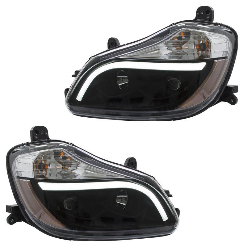 Kenworth T680 Blackout Aftermarket Projector Headlights with LED Bar - Set