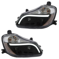 Kenworth T680 Blackout Aftermarket Projector Headlights with LED Bar - Set