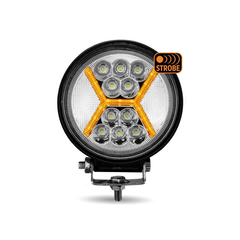 "4.5"" Universal Round LED Spot & Flood Beam X Strobe Work Lamp Front"