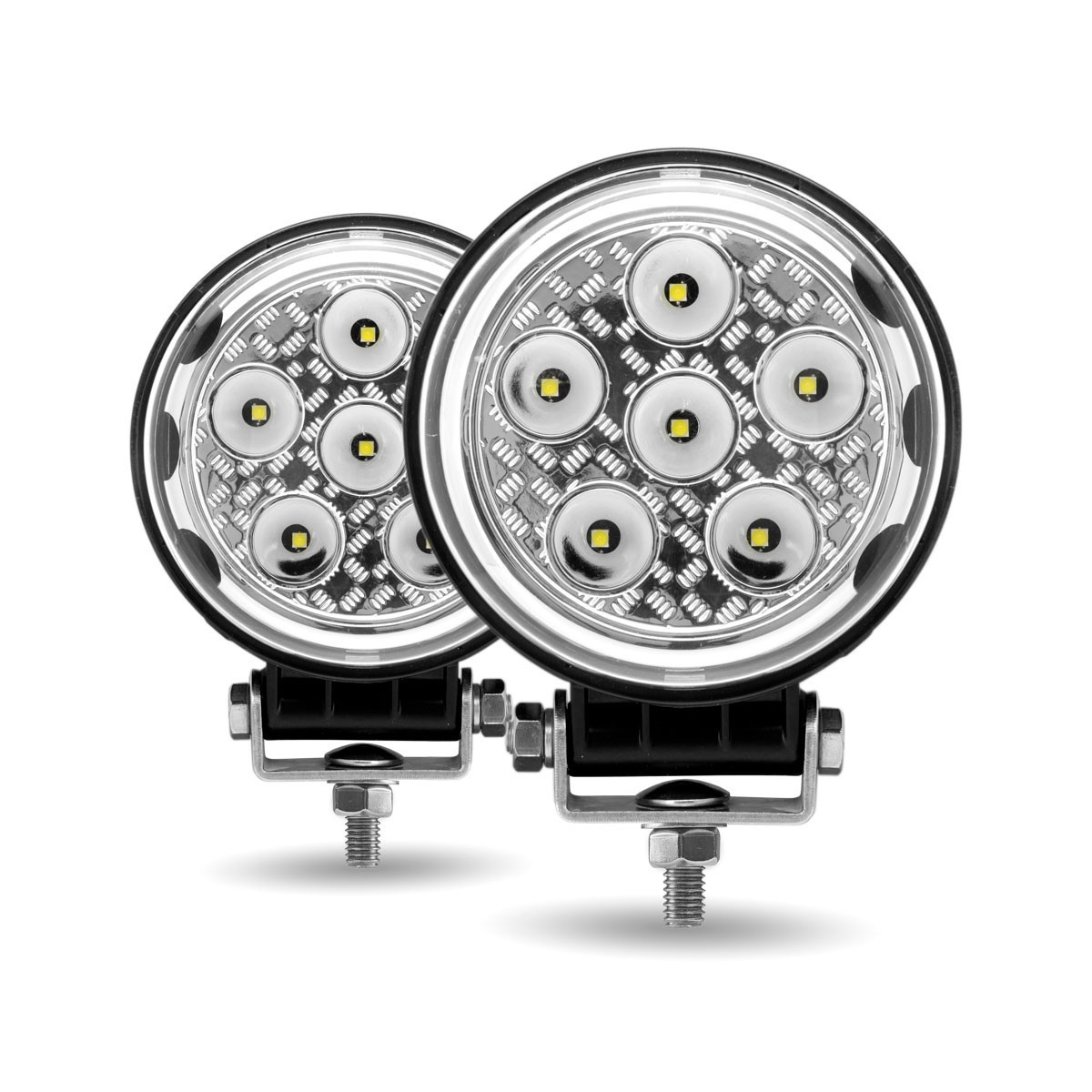 "4.5"" Round 'Radiant Series' High Power LED Spot And Flood Beam Work Light Front"