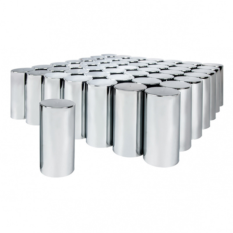 60 Pack Chrome 33mm Tall Cylinder Nut Covers