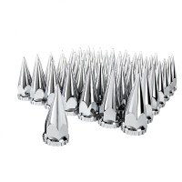 60 Pack Chrome Spike Nut Covers Thread-On