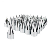 60 Pack of Chrome 33mm Push On Spike Nut Covers