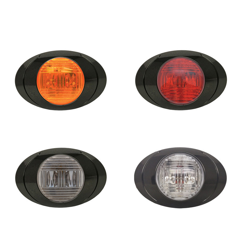 Oval P3 LED Clearance Marker Lights With Black Chrome Bezel All