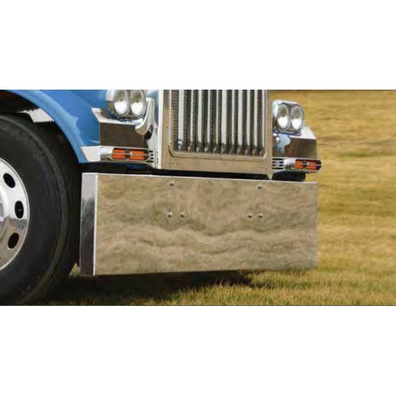 Peterbilt 359 379 388 389 567 Stainless Steel Boxed End Bumper On Blue Truck