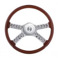 "Peterbilt Kenworth 18"" Wood Steering Wheel With Hub And Skull Accents"