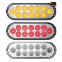 6'' Oval Dual Revolution Stop Tail Turn LED Light With Amber Strobe Thumbnail