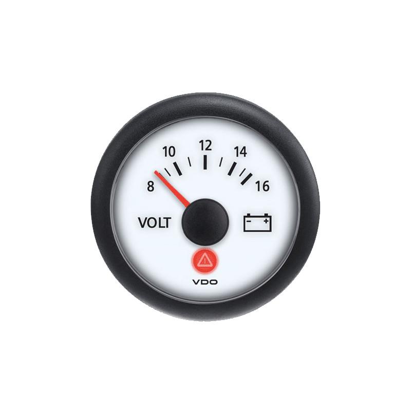 Semi Truck Analog Voltmeter Gauge Viewline Ivory - 12V