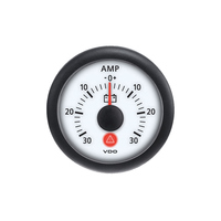 Semi Truck Analog Ammeter Gauge Viewline Ivory - 30 Amps
