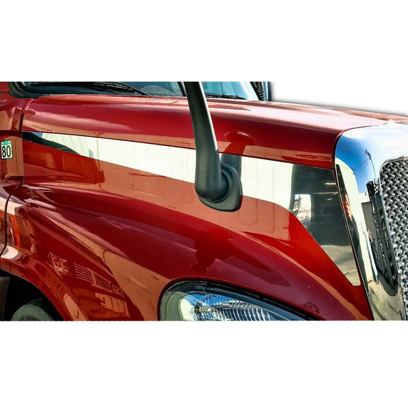 Freightliner Cascadia Stainless Steel Side Hood Stripe Trims