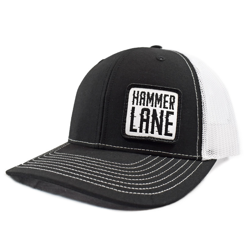 Black & White Hammerlane Patch Snapback Hat Side