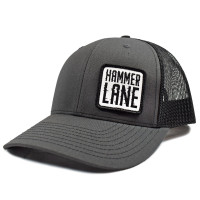 Charcoal & Black Hammerlane Patch Snapback Hat Side
