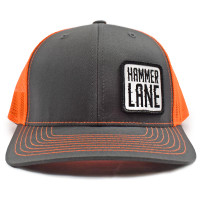 Neon Orange & Charcoal Hammerlane Patch Snapback Hat Front