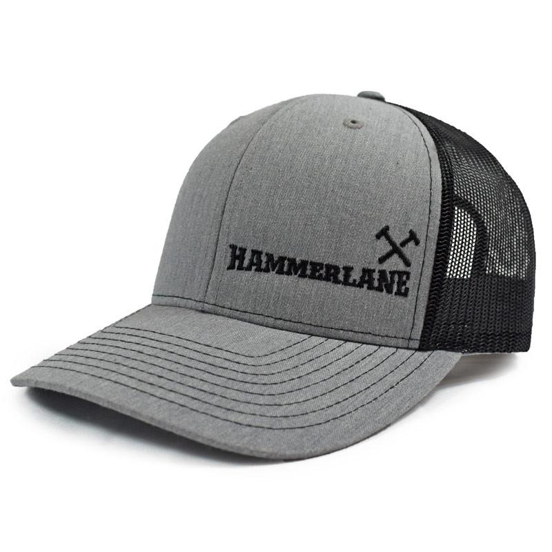 Heather Grey & Black Hammerlane Cross Hammers Snapback Hat Side