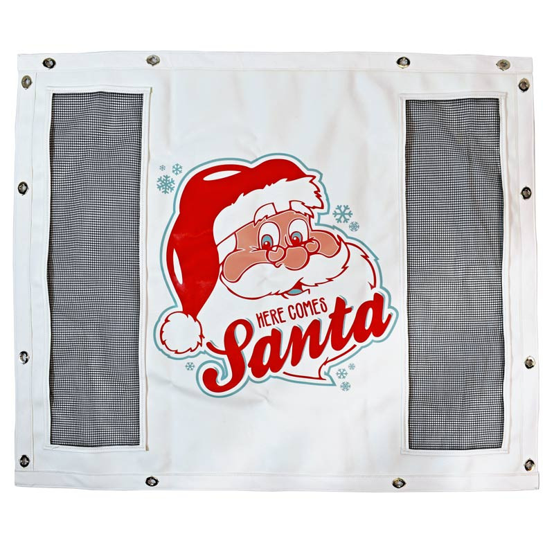 White Winterfront With Custom Here Comes Santa Logo