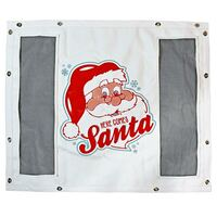 White Winterfront With Custom Here Comes Santa Logo