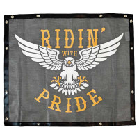 Black Bug Screen With Custom Ridin' With Pride Logo