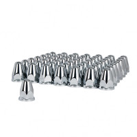 60 Pack of Chrome Plastic 33mm Push-On Bullet Nut Covers With Flange