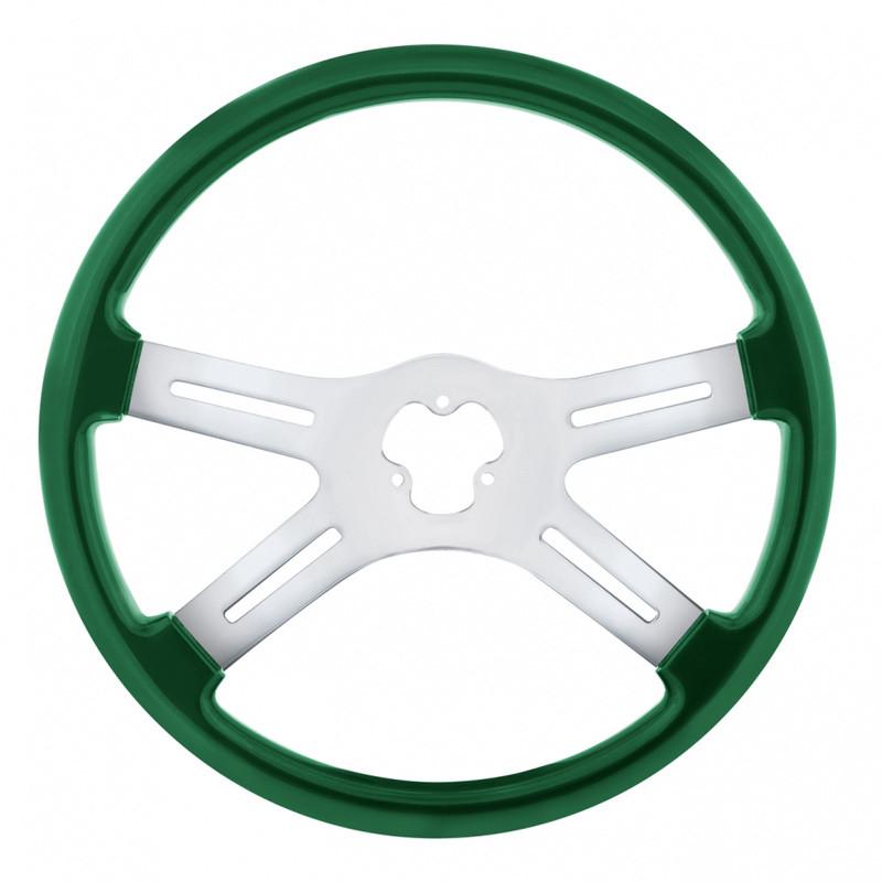 "18"" Vibrant Emerald Green 4 Spoke Steering Wheel"