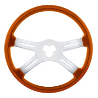 "18"" Vibrant Cadmium Orange 4 Spoke Steering Wheel"