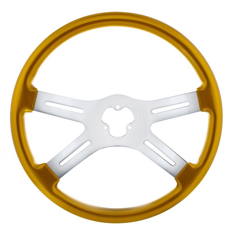 "18"" Vibrant Electric Yellow 4 Spoke Steering Wheel"