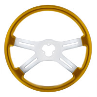 "18"" Vibrant Electric Yellow 4 Spoke Steering Wheel"