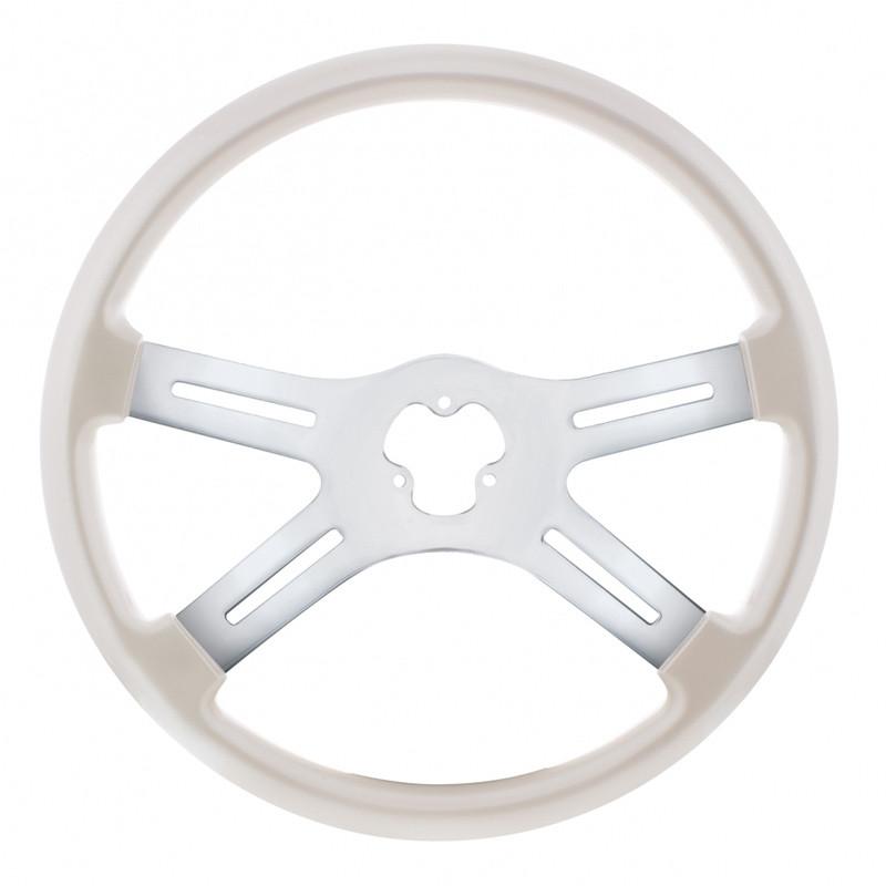 "18"" Vibrant Pearl White 4 Spoke Steering Wheel"