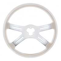 "18"" Vibrant Pearl White 4 Spoke Steering Wheel"