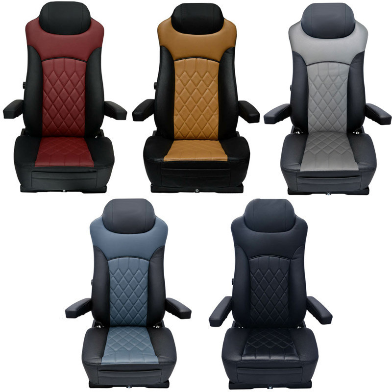 Economy High Back Diamond Pattern Leather Truck Seat With Lumbar Support