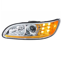 Projector Headlights With Amber LED Marker Light & Dual Function LED Glow Light - Driver Side Amber DRL On