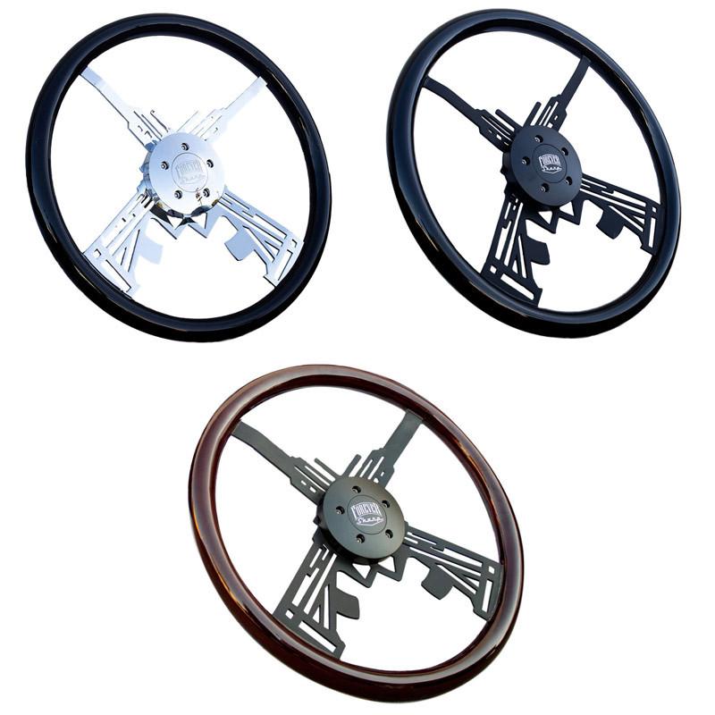 """18"""" Black Hawkeye Steering Wheel Options"""