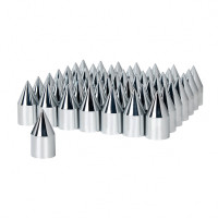 60 Pack of Chrome 33mm Thread On Spike Nut Cover