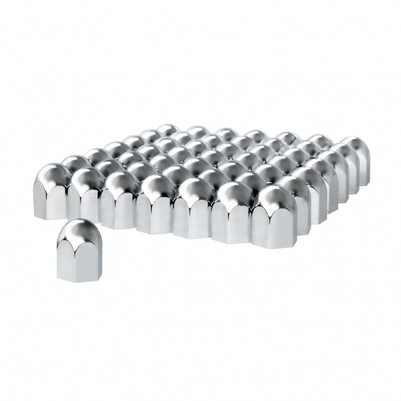 "60 Pack of Chrome 1 1/2"" Push On Standard Nut Covers"