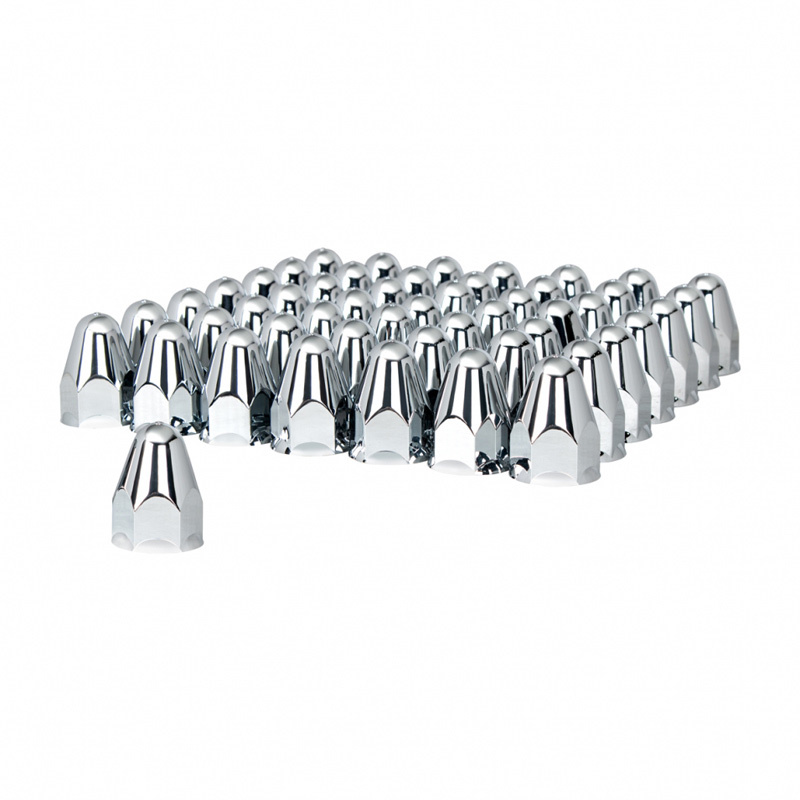 """60 Pack of Chrome 1 1/2"""" Push On Slotted Bullet Nut Cover"""