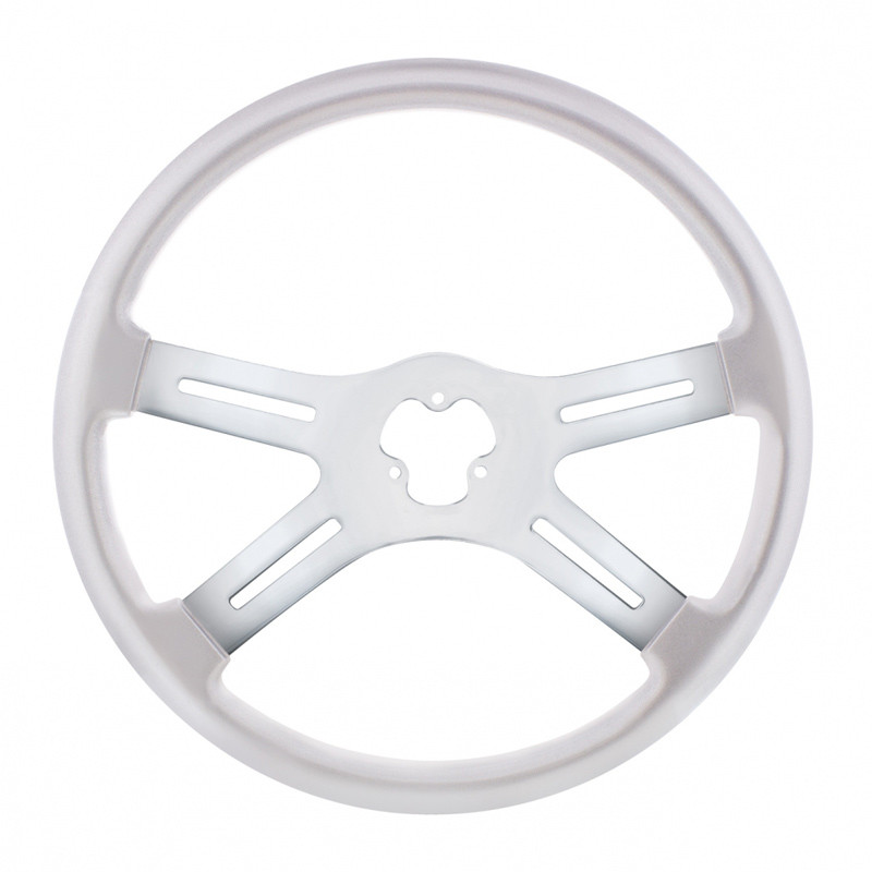 "18"" Vibrant Liquid Silver 4 Spoke Steering Wheel"