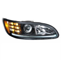 Projector Headlights With Amber LED Marker Light & Dual Function LED Glow Light - Passenger Side White LED On