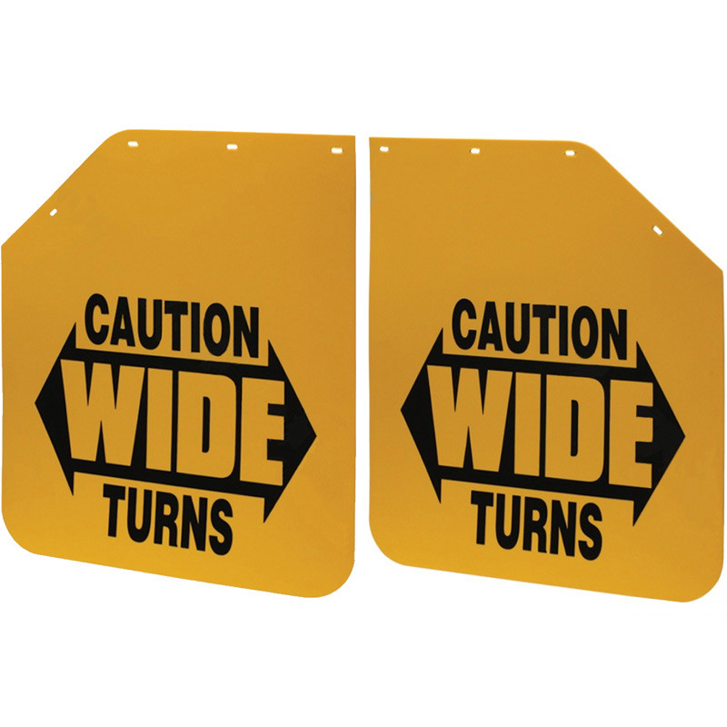 """24"""" x 30"""" Yellow Caution Wide Turns Angled Mud Flap Pair"""