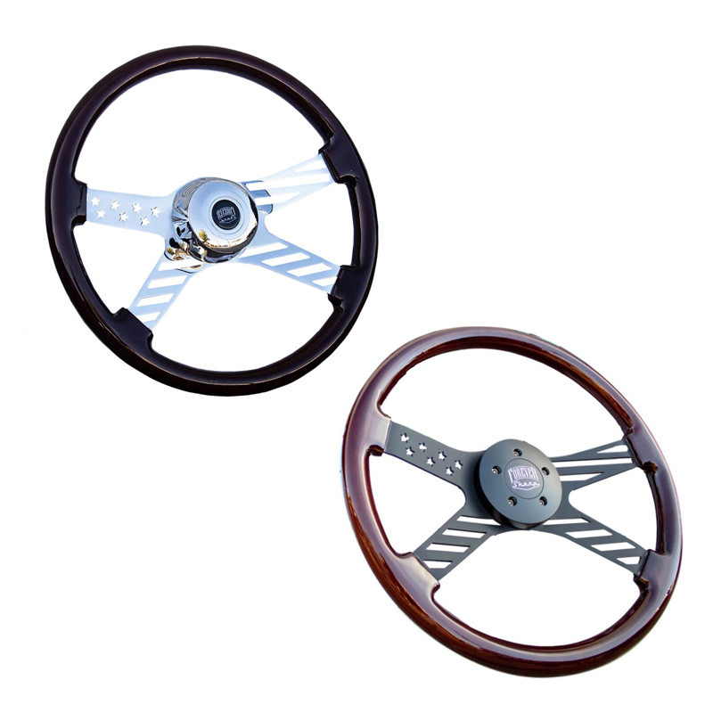 "18"" Chrome Dark Stars And Stripes Steering Wheel"