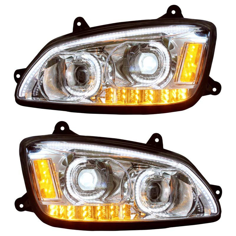 Kenworth T660 Chrome Full LED Headlights - On