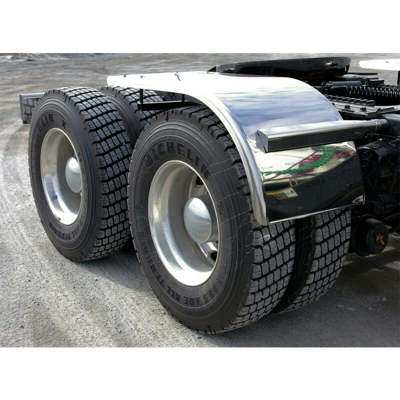 "60"" Semi Truck Half Fenders Smooth Stainless Steel With Rolled Edge On"