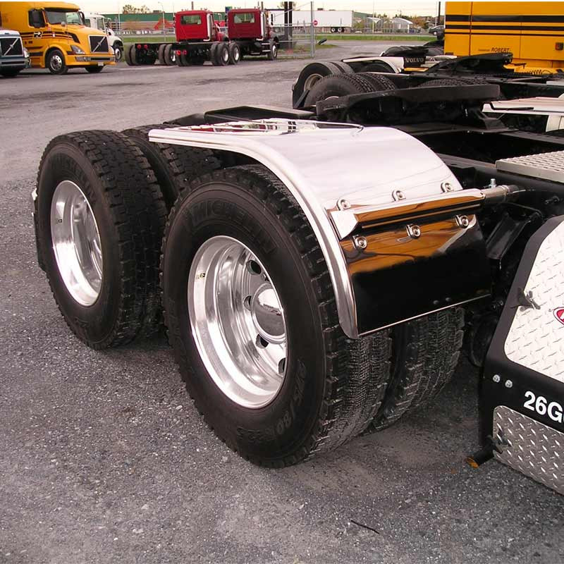 "60"" Semi Truck Half Winged Pattern Fenders Stainless Steel"
