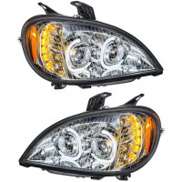 Freightliner Columbia Chrome Full LED Headlight WIth LED Light Bar Set